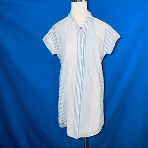 Madewell cotton lined striped tunic button down XS